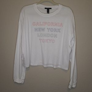 4/$25 Forever 21 City Cropped Long Sleeve Shirt